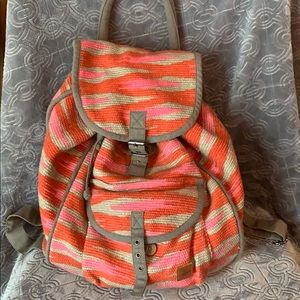 Roxy knit backpack woven boho rucksack pink orange